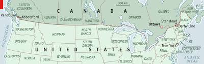 map of united states canada undefended no more the united states canadian border