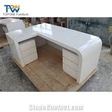 Office Table L L Shaped Artificial Marble White Office Furniture Office Table