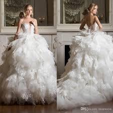 pnina tornai gown pnina tornai 2017 tiered skirts wedding dresses backless lace