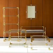 jacques two tier acrylic and brass side table modern furniture