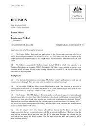 Fair Work Termination Notice by U2015 6453 Sidney V Employsure Decision