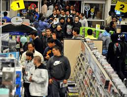 black friday shoppers lining up at retail stores across tri state