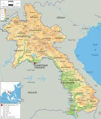 Southeast Asia Physical Map by Physical Map Of Laos Ezilon Maps