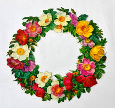 large glossy floral wreath die cut scrap from kitschandcouture on