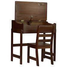 Home Chair Kids Slant Desk With Chair Walnut At Home At Home