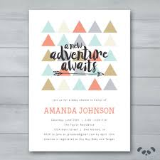 Baby Welcome Invitation Cards Templates A New Adventure Awaits Baby Shower Invitation Triangles Arrow