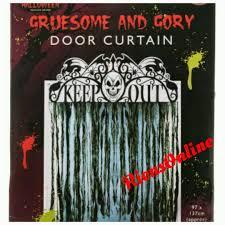 halloween spooky hollow keep out u0026 skull door curtain hanging