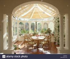 Circular Dining Room Classical Pillars In Conservatory Dining Room With Split Cane