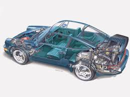 1990 porsche 911 porsche 911 turbo 1990 cutaway drawing in high quality