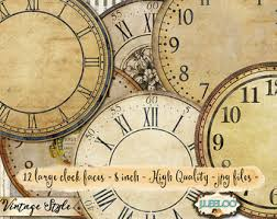 printable antique clock faces printable clock face etsy