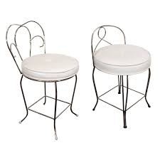 Swiss Koch Kitchen Collection Pair Of Vanity Stools With White Seats By George Koch Sons Inc