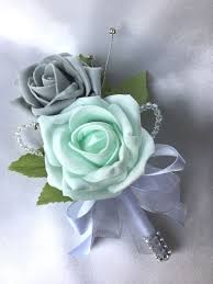 mint green flowers buttonhole mint green grey roses with diamantes artificial