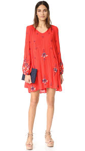 free people oxford embroidered mini dress red combo women clothing