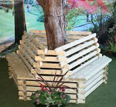 wooden wood tree seat garden lawn bench furniture outdoor seating