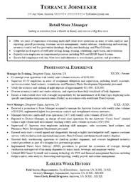 Resume Templates For Retail Retail Sales Manager Resume Retail Manager Resume Template