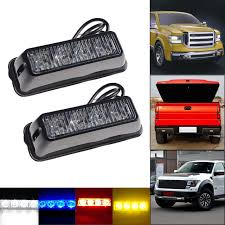 strobe lights for car headlights 2pcs drl strobe flash 4 smd led 12v 24v warning light car emergency