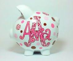 Personalized Silver Piggy Bank Boys Blue U0026 Green Circles Pig Piggy Bank Ceramic Piggy Bank
