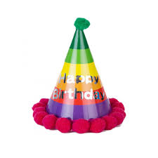 happy birthday hat birthday rainbow party hat maroon pom pom