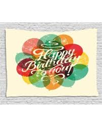 Vintage Birthday Decorations Big Deal On Birthday Decorations Tapestry Typographical Retro