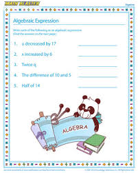 free printable math worksheets variables expressions algebraic expression algebra worksheets for kids math blaster