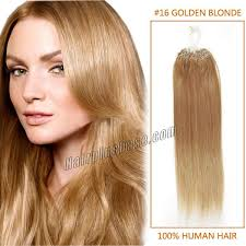 Color Hair Extension by Inch 16 Golden Blonde Micro Loop Human Hair Extensions 100s