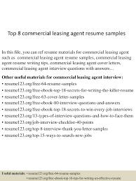 Leasing Agent Job Description Resume by Top8commercialleasingagentresumesamples 150717053841 Lva1 App6891 Thumbnail 4 Jpg Cb U003d1437111566