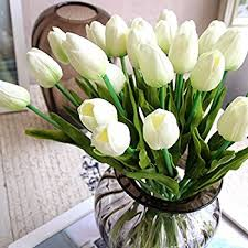 white tulips supla 20 heads artificial flowers real touch tulips in
