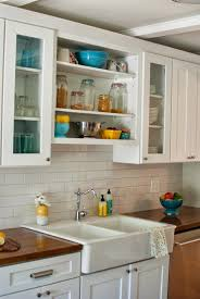 Farm Sink With Backsplash by Subway Tile Backsplash With Butcher Block Google Search Cool