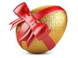 gold easter egg golden easter egg with ribbon stock photo colourbox