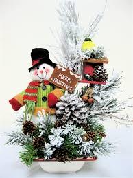 snowman christmas centerpiece arrangement ooak christmas winter