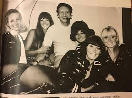 barbi benton and hugh hefner hugh hefner and the bunnies on the playboy private jet c 1970