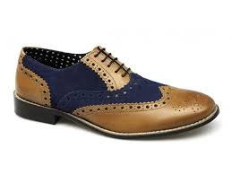 london brogues gatsby mens leather brogue shoes tan navy suede