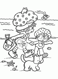 summer beach strawberry shortcake coloring page for kids seasons