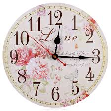 vintage rustic wooden wall clock antique shabby chic retro home