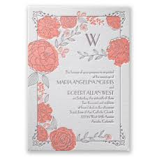 coral wedding invitations garden letterpress invitation invitations by