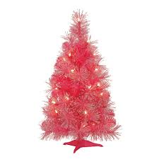 2 ft pre lit pink iridescent artificial christmas tree by