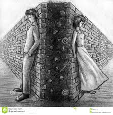 wall between man and woman sketch stock illustration image