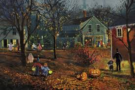 halloween background wide houses halloween village holiday painting illustration art