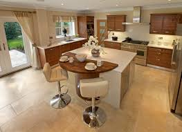u shape kitchen design and decoration using pedestal white leather