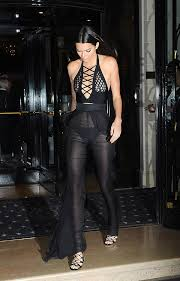 kendall jenner jumpsuit kendall jenner flashes in sheer jumpsuit during