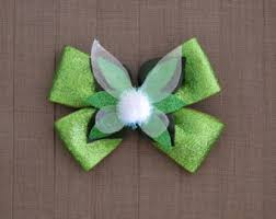 tinkerbell ribbon christmas in julyhair bow tinkerbell hair clip tinkerberll