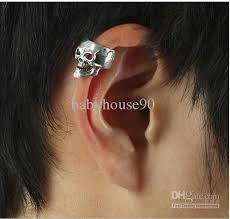 cartilage earrings men 2018 new arrival silver skull ear cuff earrings cartilage