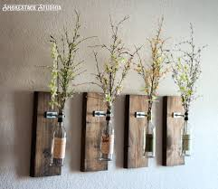 Diy Wine Bottle Vases Wine Bottle Wall Vase Set Of Four Rustic Modern