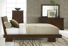 Japanese Bed Frames Brown Walnut Japanese Bed Frame With Leaning Headboard Bedroom