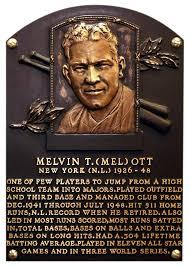 M El Ott Mel Baseball Hall Of Fame