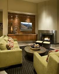 stainless steel fireplace in modern sleek living room 48196