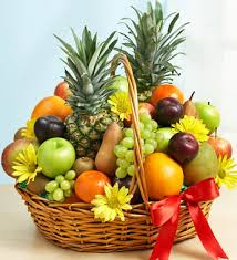 fruit baskets for delivery deluxe all fruit basket blooming bouquet