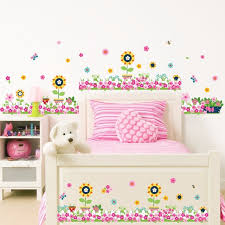 Cartoon Sunflowers Potted Plants Wall Stickers Baseboard Skirting - Wall borders for kids rooms