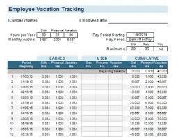 Employee Vacation Accrual Spreadsheet Employee Vacation Tracking Template Meylah