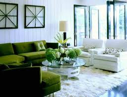 Frontroom Furnishings Furniture Green Leather Sofa With White Fur Rug Also Round Glass